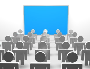 presentation concept illustration with blue board and 3d people