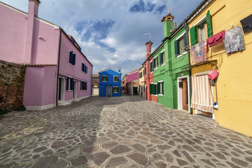 Lovely buildings in Burano Island, Italy