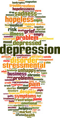 Depression word cloud concept. Vector illustration