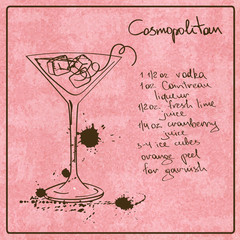 Hand drawn Cosmopolitan cocktail