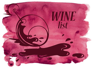 Watercolor background with wine glass