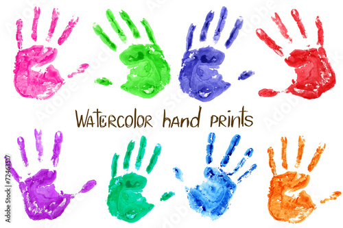 Collection of watercolor hand print - 72463517