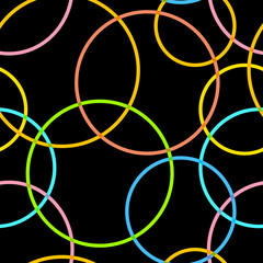 Abstract retro circles seamless pattern.