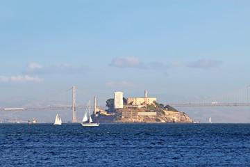 Alcatraz Island viewed from San Francisco Bay, California