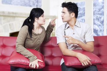 Hispanic couple having fight