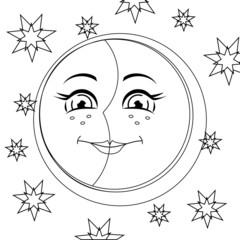 Moon. Vector illustration.