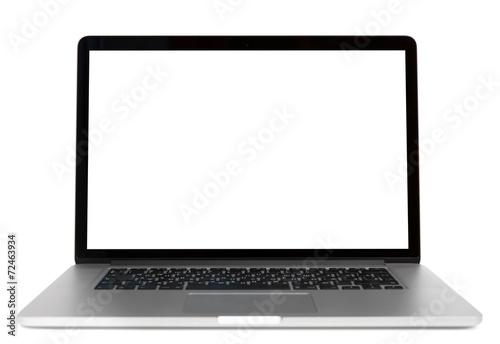 Leinwandbild Motiv Modern laptop isolated on white background. Front view