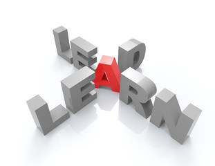 learn-lead 3d word concept