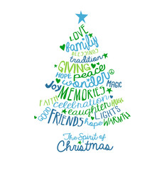 Christmas Card Word Cloud tree design