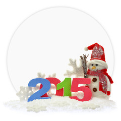 Snowman and new year 2015 in front of a paper card