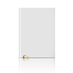 Blank vertical book template with gold bookmark.