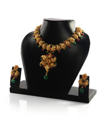 Indian Traditional Gold Necklace With Earrings