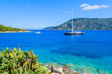 Luxury yacht boat on sea near Fiskardo village, Kefalonia island