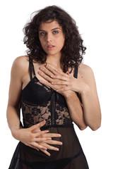 Corpo sensuale con mani