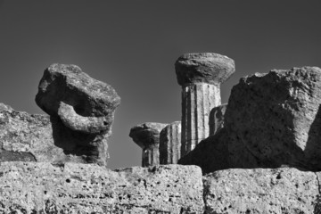 Italy, Sicily, Agrigento, Greek Hercules Temple columns