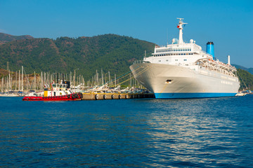 view of a large cruise passenger liner in the sea port