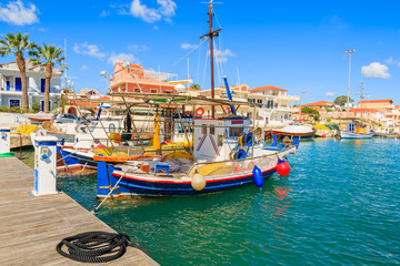 Greek fishing boats in port of Lixouri village, Kefalonia island