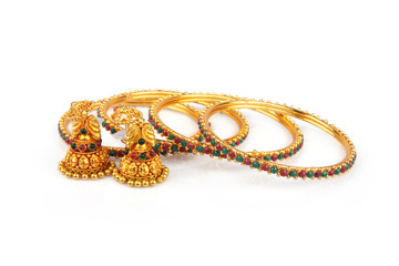 Indian Traditional Gold Bangle with Earrings