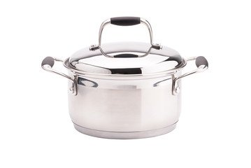 Silver cooking pot on white background.