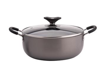 Non-stick sauce pan on white background