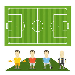 Green football field with football players