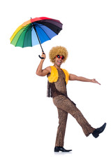 Man with umbrella isolated on white