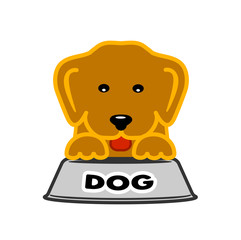 puppy near bowl of dog food symbol