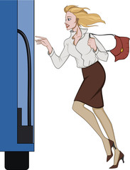 Business woman running for a bus
