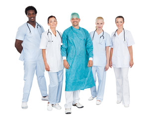 Confident Medical Team Against White Background