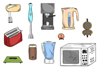 Colored set of kitchen appliances