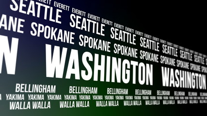 Washington State and Major Cities Scrolling Banner