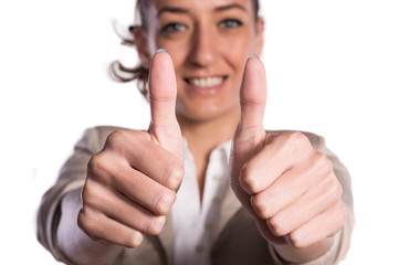 Close up of woman with two thumbs up on white background