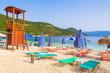 Lifeguard tower and sunbeds on Antisamos beach, Kefalonia island