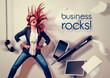 Leinwandbild Motiv rocking business lady - business rocks 01