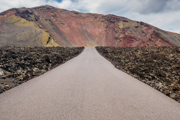 Road to Timanfaya Fire Mountains in Lanzarote,  Canary Islands