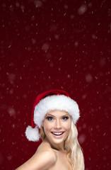 Beautiful woman in Christmas cap
