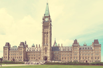 Canadian Parliament Building in Ottawa retro filter applied