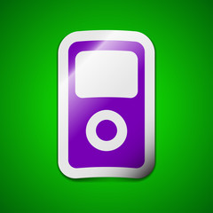 Portable musical player icon sign. Symbol chic colored sticky