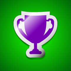 Winner cup icon sign. Symbol chic colored sticky label on green