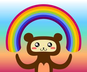 The bear made a rainbow.