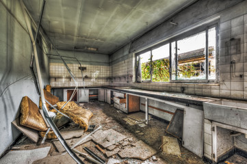 Abandoned laboratory in a derelict factory