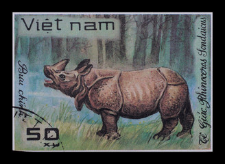 Post stamp. Animals, rhinoceros