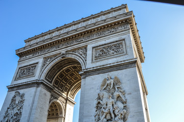 view of the Arc de Triomphe in morning light