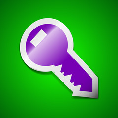 Key icon sign. Symbol chic colored sticky label on green