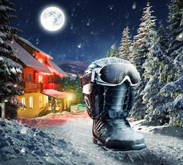 Snowboard equipment in winter village