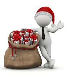 omino bianco appoggiato al sacco di regali