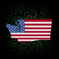 Washington state map flag on hex code illustration