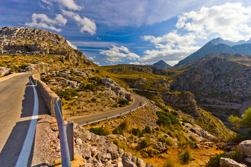 Beautiful view of road to Sa Calobra on Mallorca Island, Spain