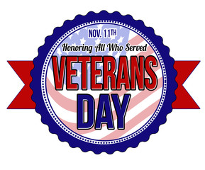 Veterans day label or seal
