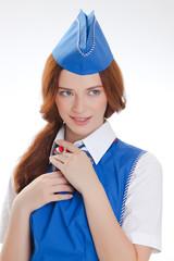 beautiful girl in blue uniforms
